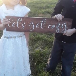 New farmhouse lets get cozy wood sign wedding gift